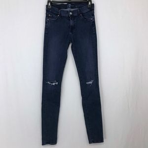 7 For All Mankind The Skinny Distressed Knees 27